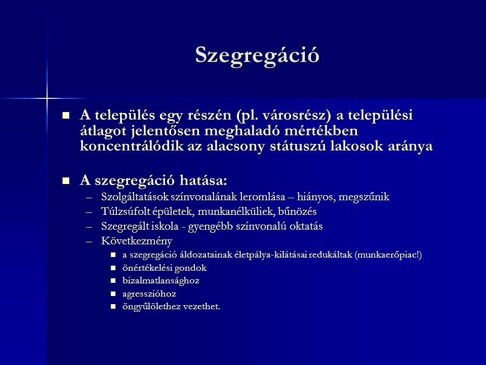 Szegregáció A település egy részén (pl.