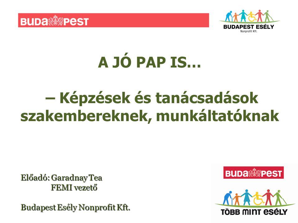 A JÓ PAP IS… – Képzések és tanácsadások szakembereknek, munkáltatóknak Előadó: Garadnay Tea FEMI vezető Budapest Esély Nonprofit Kft.