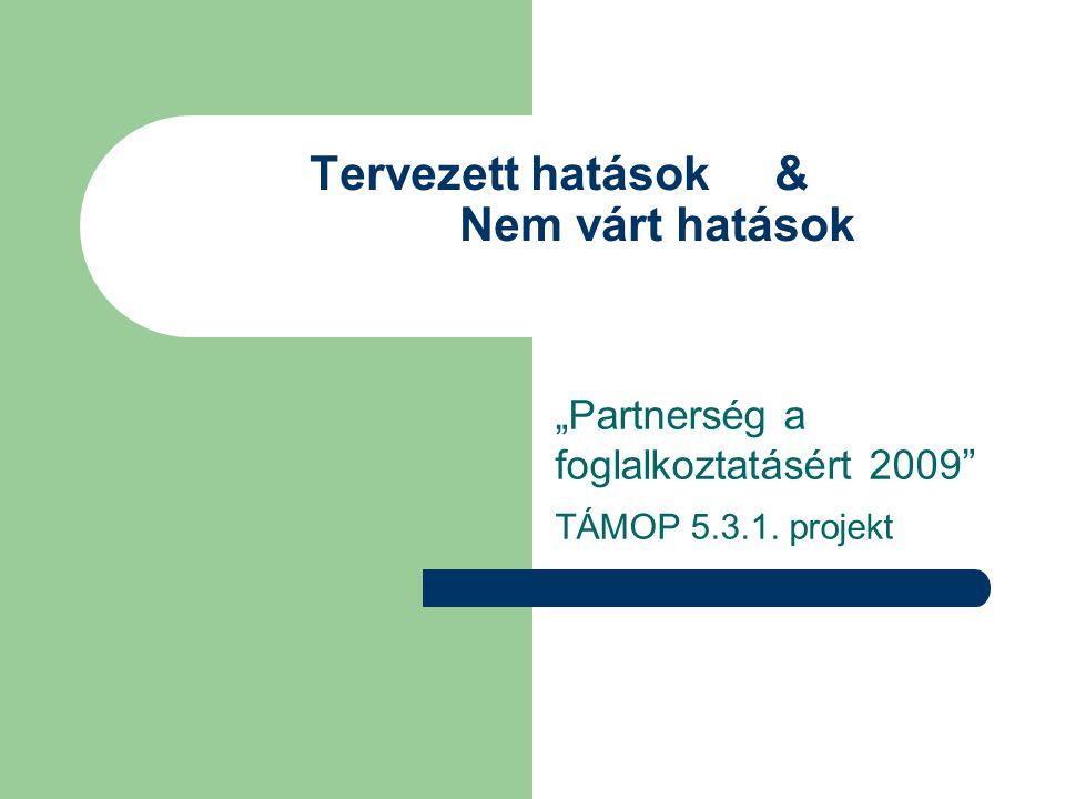"""Tervezett hatások & Nem várt hatások """"Partnerség a foglalkoztatásért 2009 TÁMOP 5.3.1. projekt"""