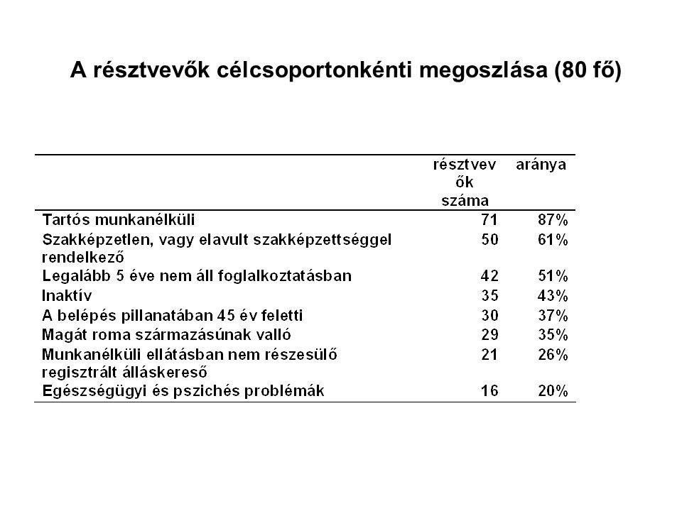 A résztvevők célcsoportonkénti megoszlása (80 fő)
