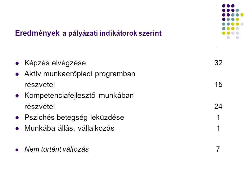 Eredmények a pályázati indikátorok szerint Képzés elvégzése 32 Aktív munkaerőpiaci programban részvétel15 Kompetenciafejlesztő munkában részvétel24 Pszichés betegség leküzdése 1 Munkába állás, vállalkozás 1 Nem történt változás 7