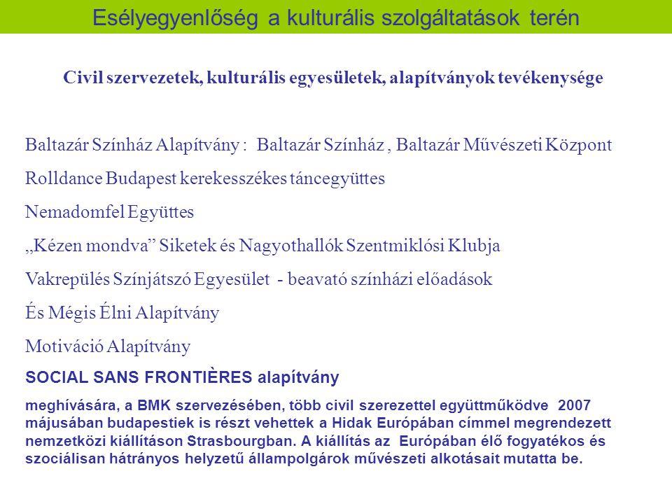 Esélyegyenlőség a kulturális szolgáltatások terén Civil szervezetek, kulturális egyesületek, alapítványok tevékenysége Baltazár Színház Alapítvány : B