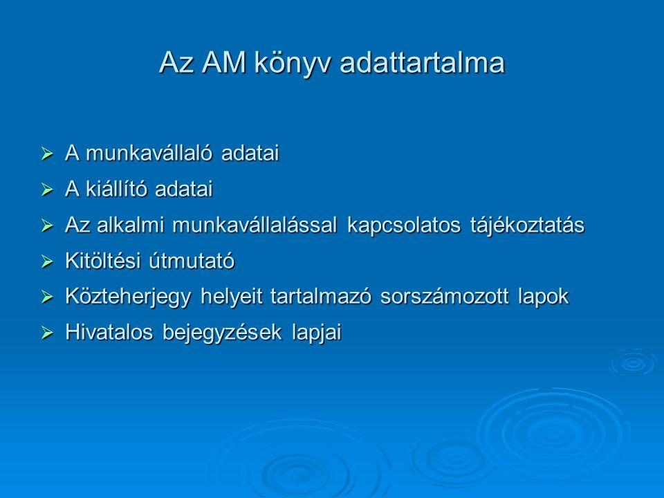 Az AM könyv adattartalma  A munkavállaló adatai  A kiállító adatai  Az alkalmi munkavállalással kapcsolatos tájékoztatás  Kitöltési útmutató  Köz