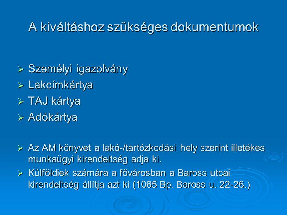 A kiváltáshoz szükséges dokumentumok  Személyi igazolvány  Lakcímkártya  TAJ kártya  Adókártya  Az AM könyvet a lakó-/tartózkodási hely szerint i