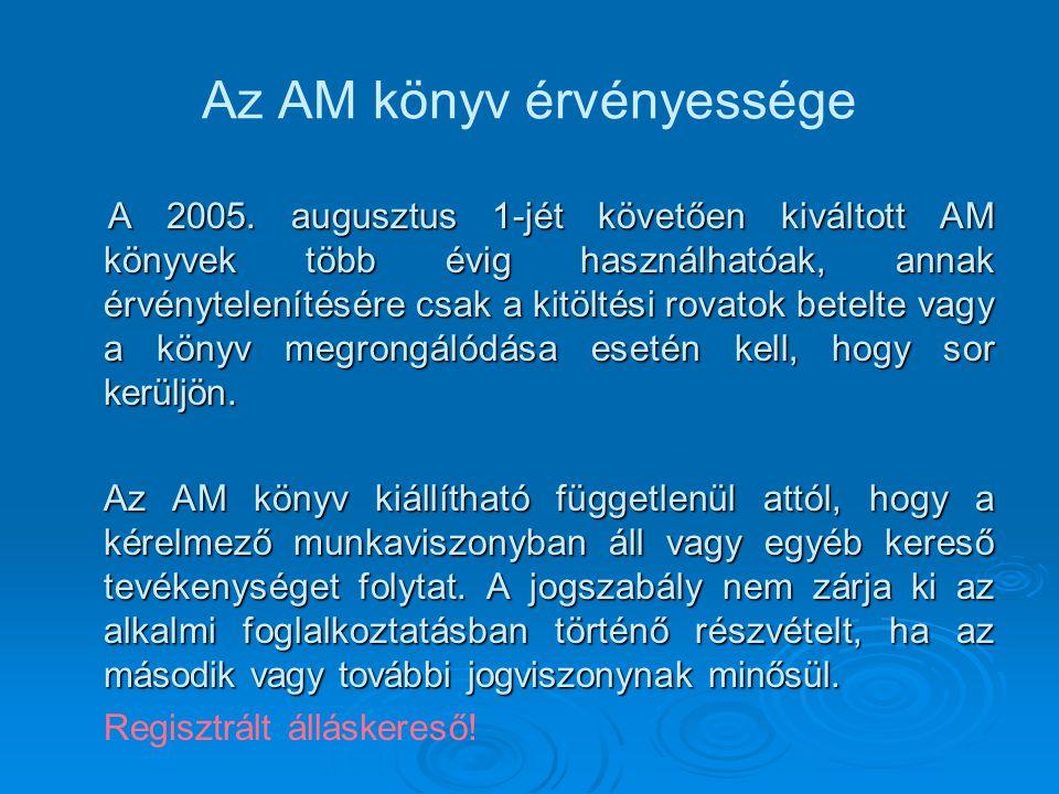 Az AM könyv érvényessége A 2005. augusztus 1-jét követően kiváltott AM könyvek több évig használhatóak, annak érvénytelenítésére csak a kitöltési rova