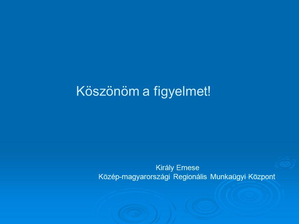 Köszönöm a figyelmet! Király Emese Közép-magyarországi Regionális Munkaügyi Központ