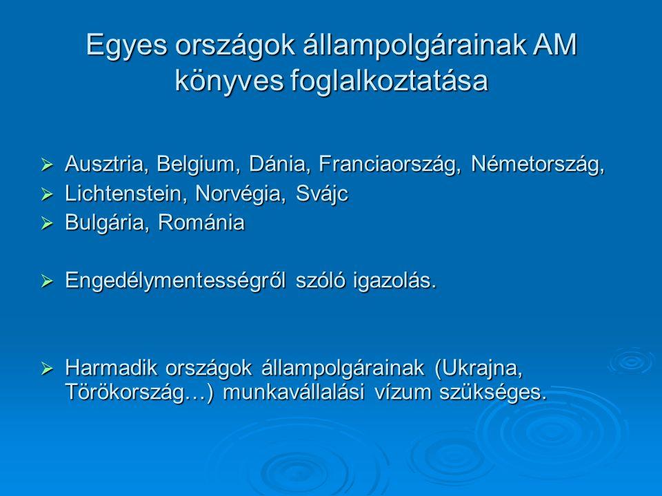 Egyes országok állampolgárainak AM könyves foglalkoztatása  Ausztria, Belgium, Dánia, Franciaország, Németország,  Lichtenstein, Norvégia, Svájc  B
