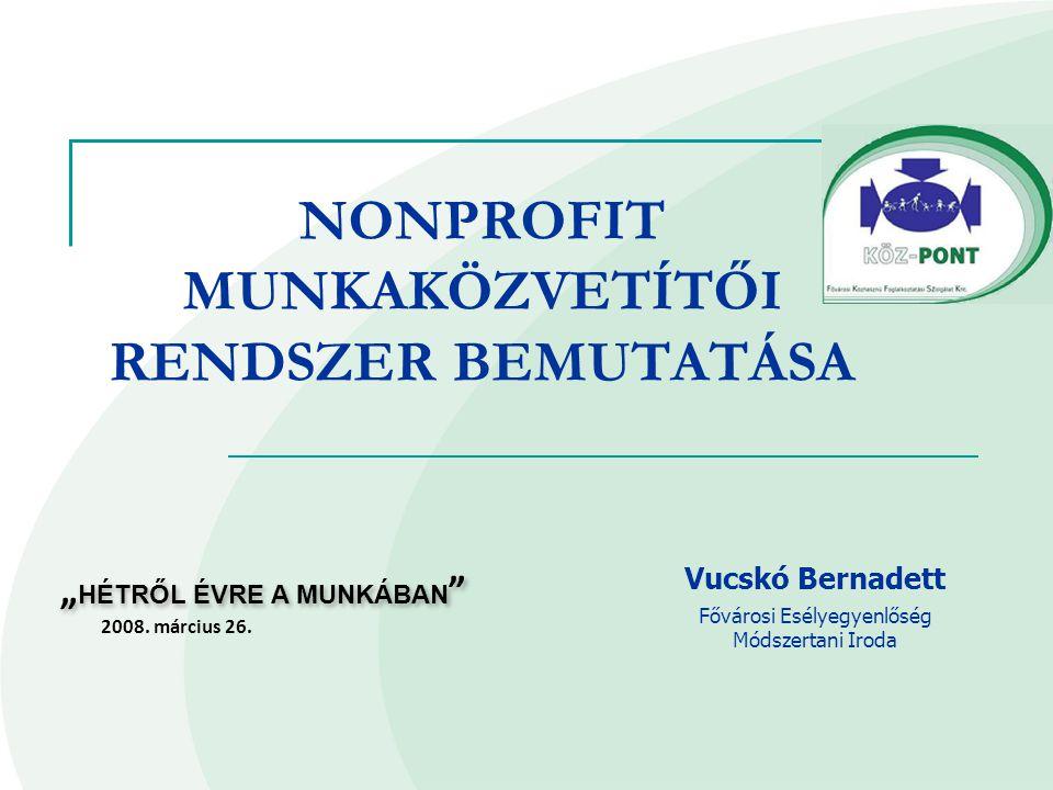 """""""Hétről Évre a munkaerőpiacon – nonprofit munkaerő-közvetítés Pályázati forrás innovációra  Országos Foglalkoztatási Közalapítvány Nonprofit közvetítés program (OFA/NK/7115/0021)  20 millió forintos támogatás FKFSZ infrastruktúrája  4,5 millió saját erő bevonása  4 helyszín  6 felkészült munkatanácsadó szakember  BMSZKI Álláskereső Iroda szakemberei Idő és területi hatálya  2007."""