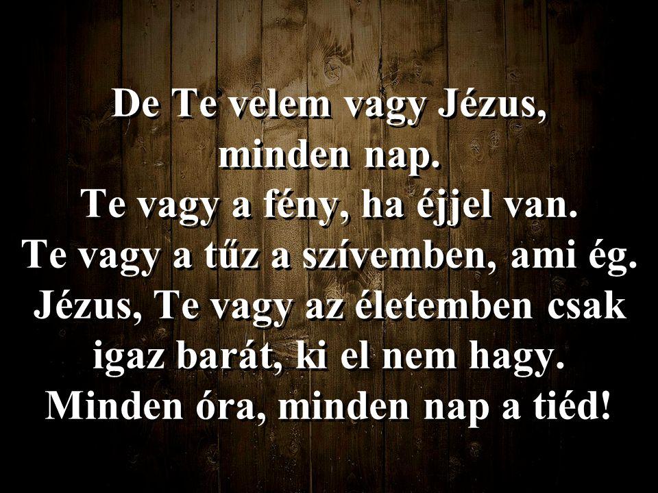 De Te velem vagy Jézus, minden nap. Te vagy a fény, ha éjjel van. Te vagy a tűz a szívemben, ami ég. Jézus, Te vagy az életemben csak igaz barát, ki e