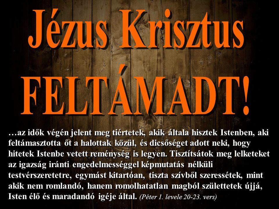 …az idők végén jelent meg tiértetek, akik általa hisztek Istenben, aki feltámasztotta őt a halottak közül, és dicsőséget adott neki, hogy hitetek Iste