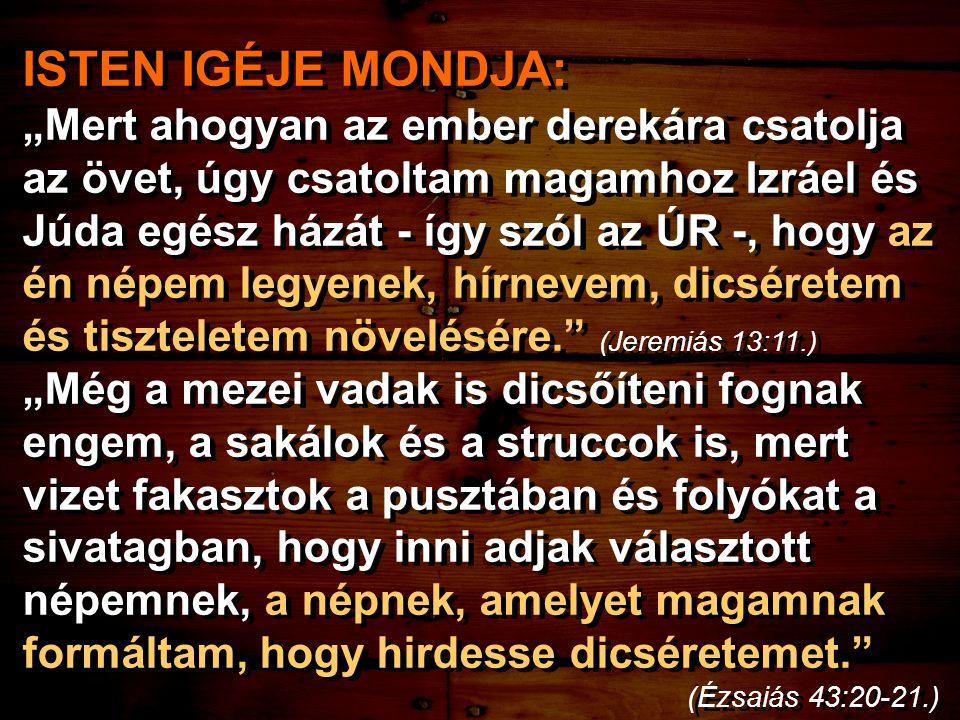 """ISTEN IGÉJE MONDJA: """"Mert ahogyan az ember derekára csatolja az övet, úgy csatoltam magamhoz Izráel és Júda egész házát - így szól az ÚR -, hogy az én népem legyenek, hírnevem, dicséretem és tiszteletem növelésére. (Jeremiás 13:11.) """"Még a mezei vadak is dicsőíteni fognak engem, a sakálok és a struccok is, mert vizet fakasztok a pusztában és folyókat a sivatagban, hogy inni adjak választott népemnek, a népnek, amelyet magamnak formáltam, hogy hirdesse dicséretemet. (Ézsaiás 43:20-21.) ISTEN IGÉJE MONDJA: """"Mert ahogyan az ember derekára csatolja az övet, úgy csatoltam magamhoz Izráel és Júda egész házát - így szól az ÚR -, hogy az én népem legyenek, hírnevem, dicséretem és tiszteletem növelésére. (Jeremiás 13:11.) """"Még a mezei vadak is dicsőíteni fognak engem, a sakálok és a struccok is, mert vizet fakasztok a pusztában és folyókat a sivatagban, hogy inni adjak választott népemnek, a népnek, amelyet magamnak formáltam, hogy hirdesse dicséretemet. (Ézsaiás 43:20-21.)"""