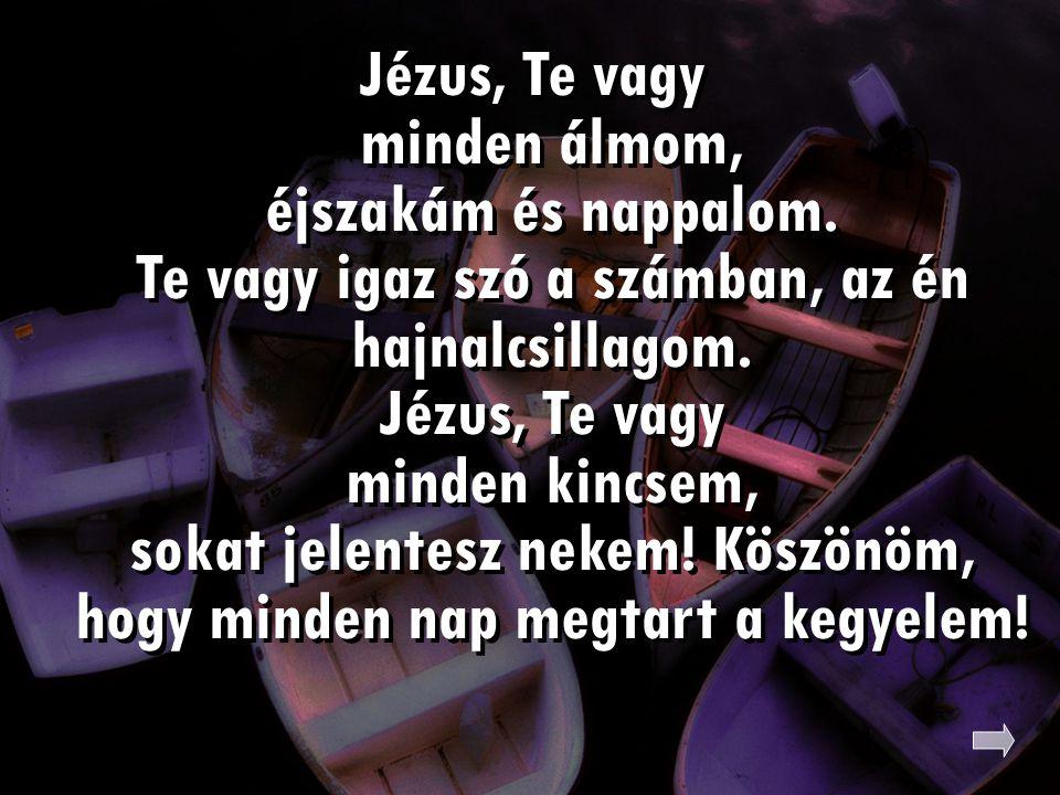 Jézus, Te vagy minden álmom, éjszakám és nappalom. Te vagy igaz szó a számban, az én hajnalcsillagom. Jézus, Te vagy minden kincsem, sokat jelentesz n