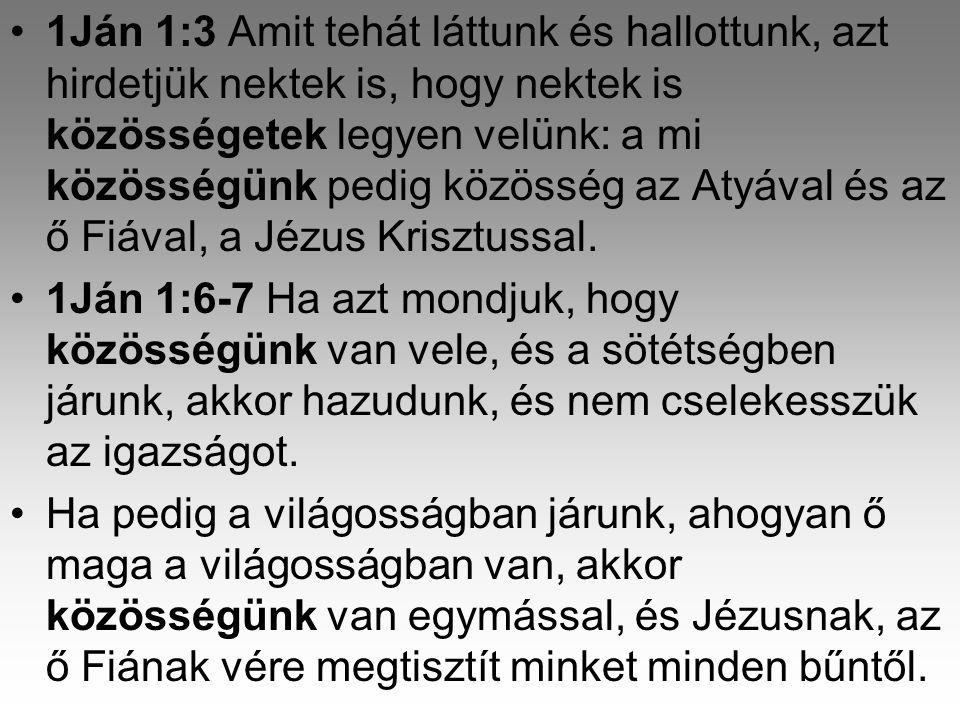 1Ján 1:3 Amit tehát láttunk és hallottunk, azt hirdetjük nektek is, hogy nektek is közösségetek legyen velünk: a mi közösségünk pedig közösség az Atyával és az ő Fiával, a Jézus Krisztussal.
