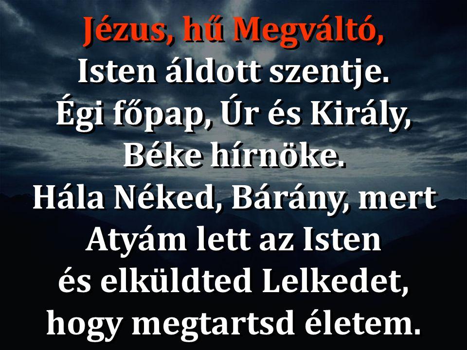 Jézus, hű Megváltó, Isten áldott szentje. Égi főpap, Úr és Király, Béke hírnöke. Hála Néked, Bárány, mert Atyám lett az Isten és elküldted Lelkedet, h