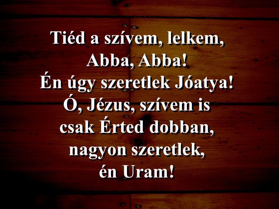 Tiéd a szívem, lelkem, Abba, Abba! Én úgy szeretlek Jóatya! Ó, Jézus, szívem is csak Érted dobban, nagyon szeretlek, én Uram!