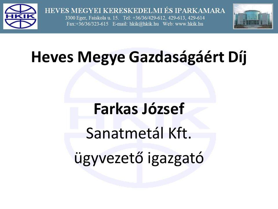 Heves Megye Gazdaságáért Díj Farkas József Sanatmetál Kft. ügyvezető igazgató