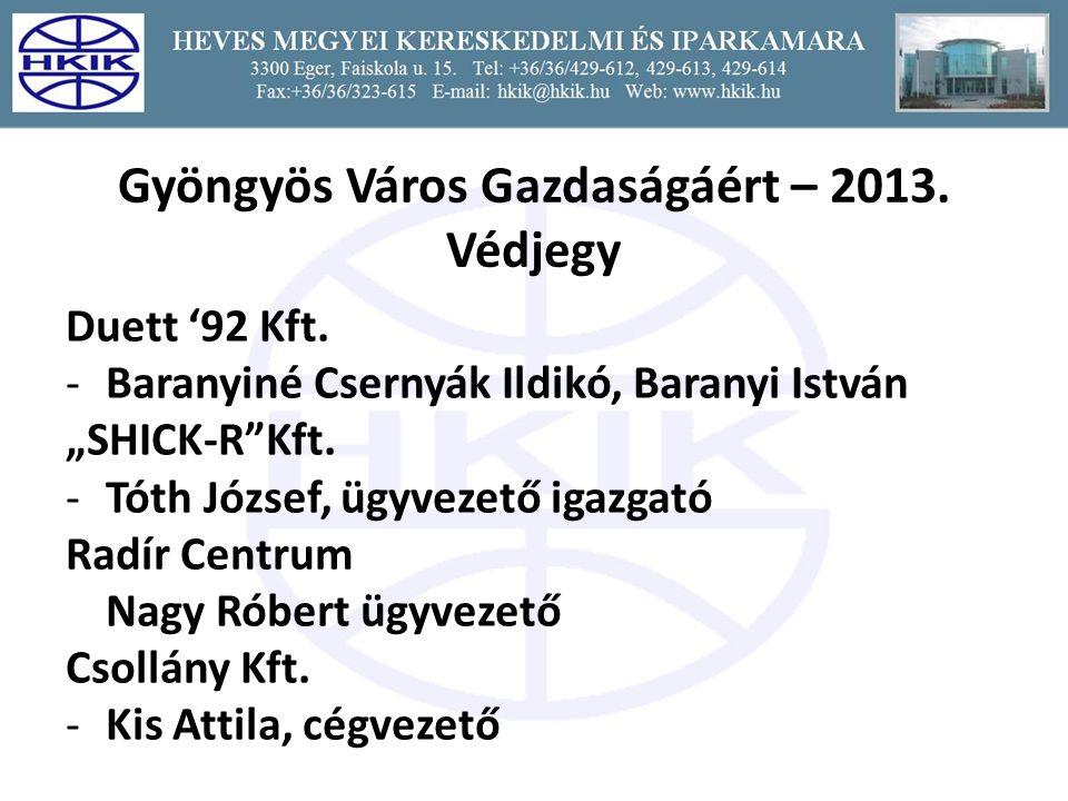 Gyöngyös Város Gazdaságáért – 2013.Védjegy Duett '92 Kft.