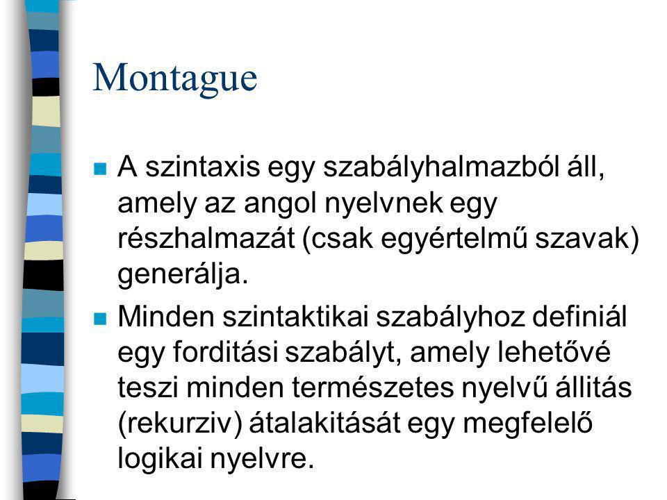Montague n A szintaxis egy szabályhalmazból áll, amely az angol nyelvnek egy részhalmazát (csak egyértelmű szavak) generálja.