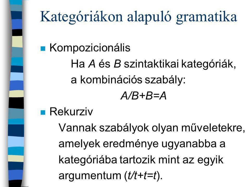 Kategóriákon alapuló gramatika n Kompozicionális Ha A és B szintaktikai kategóriák, a kombinációs szabály: A/B+B=A n Rekurziv Vannak szabályok olyan műveletekre, amelyek eredménye ugyanabba a kategóriába tartozik mint az egyik argumentum (t/t+t=t).