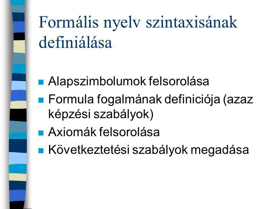Formális nyelv szintaxisának definiálása n Alapszimbolumok felsorolása n Formula fogalmának definiciója (azaz képzési szabályok) n Axiomák felsorolása n Következtetési szabályok megadása