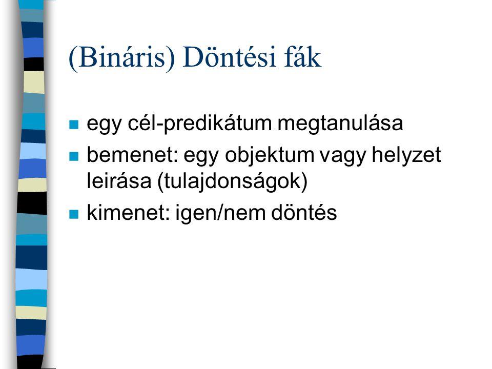 (Bináris) Döntési fák n egy cél-predikátum megtanulása n bemenet: egy objektum vagy helyzet leirása (tulajdonságok) n kimenet: igen/nem döntés