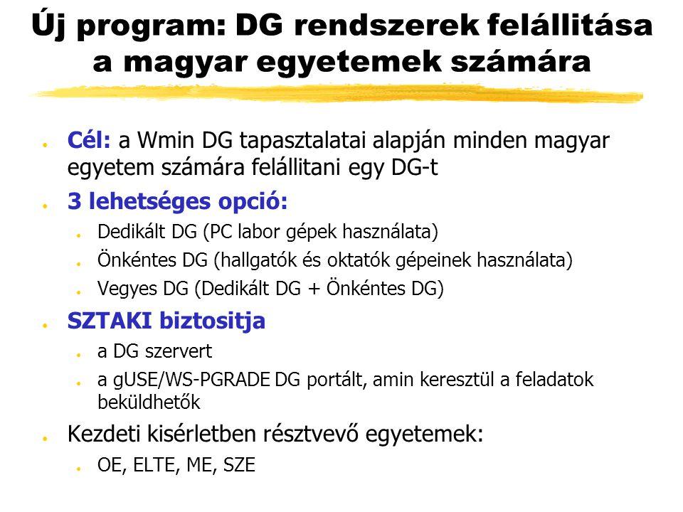 Új program: DG rendszerek felállitása a magyar egyetemek számára ● Cél: a Wmin DG tapasztalatai alapján minden magyar egyetem számára felállitani egy DG-t ● 3 lehetséges opció: ● Dedikált DG (PC labor gépek használata) ● Önkéntes DG (hallgatók és oktatók gépeinek használata) ● Vegyes DG (Dedikált DG + Önkéntes DG) ● SZTAKI biztositja ● a DG szervert ● a gUSE/WS-PGRADE DG portált, amin keresztül a feladatok beküldhetők ● Kezdeti kisérletben résztvevő egyetemek: ● OE, ELTE, ME, SZE