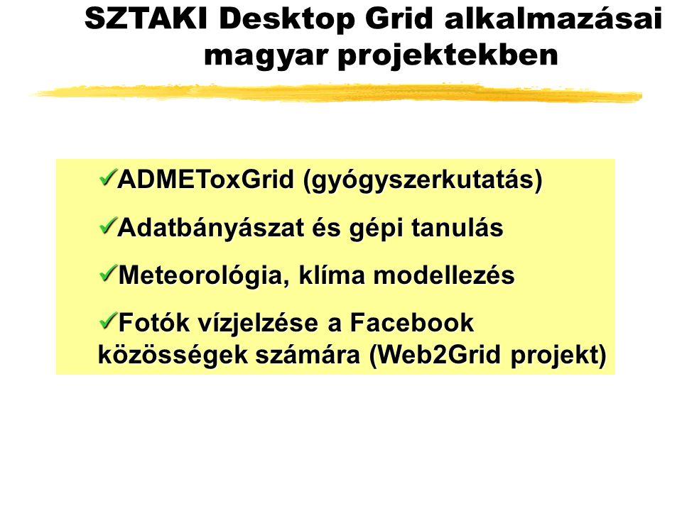 ADMEToxGrid (gyógyszerkutatás) ADMEToxGrid (gyógyszerkutatás) Adatbányászat és gépi tanulás Adatbányászat és gépi tanulás Meteorológia, klíma modellezés Meteorológia, klíma modellezés Fotók vízjelzése a Facebook közösségek számára (Web2Grid projekt) Fotók vízjelzése a Facebook közösségek számára (Web2Grid projekt) SZTAKI Desktop Grid alkalmazásai magyar projektekben
