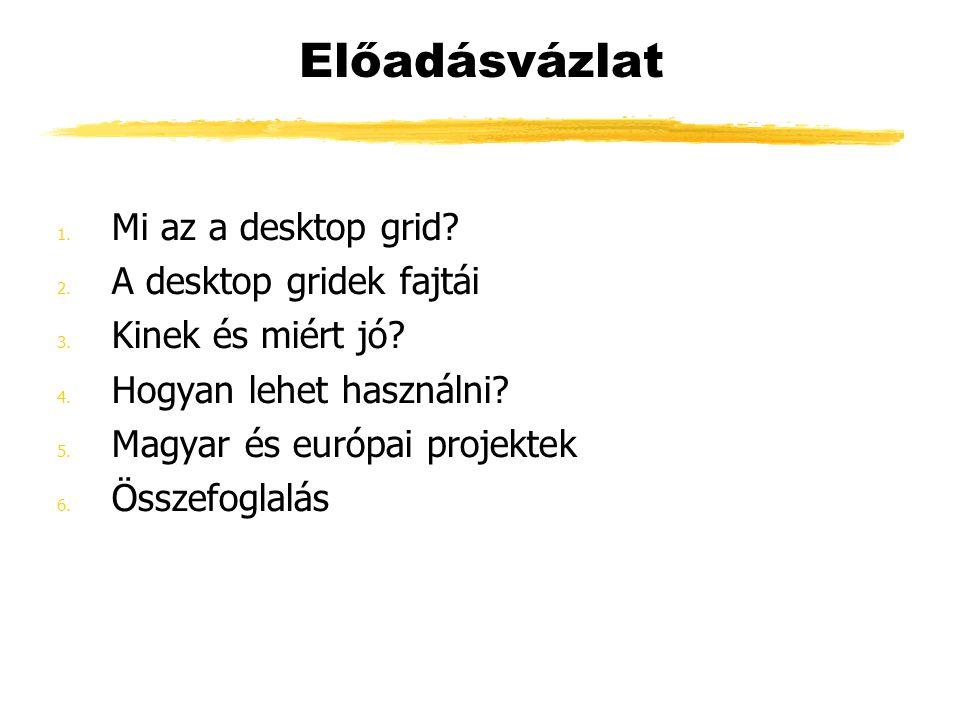 Összefoglalás Az SZDG lehetővé teszi: a Grid rendszerek építésének társadalmasítását Grid építését olyan intézmények számára is, ahol nincs klaszter nincs Grid építési tapasztalat nincs elég anyagi forrás drága nagyteljesítményű rendszerek vételére a Grid magyarországi elterjedését a különböző közösségek számára (pl.