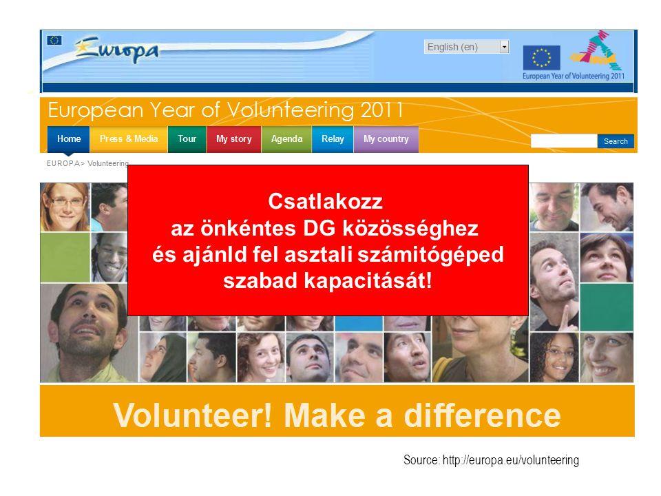Source: http://europa.eu/volunteering Csatlakozz az önkéntes DG közösséghez és ajánld fel asztali számitógéped szabad kapacitását!
