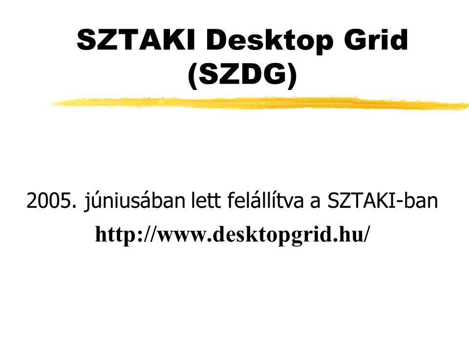 SZTAKI Desktop Grid (SZDG) 2005. júniusában lett felállítva a SZTAKI-ban http://www.desktopgrid.hu/