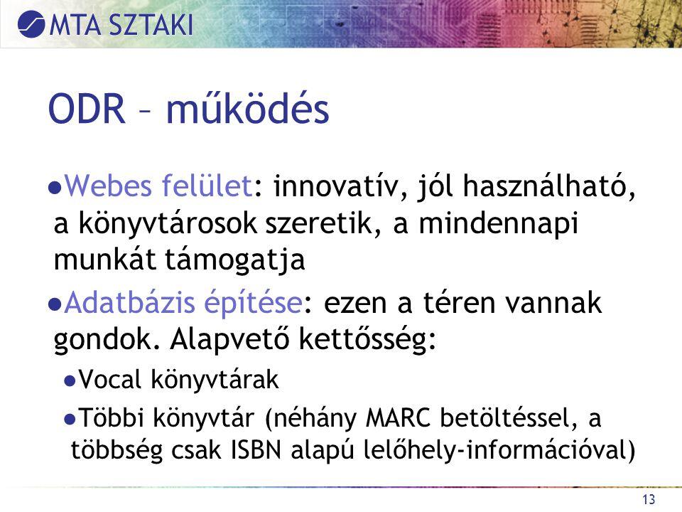 ODR – működés ●Webes felület: innovatív, jól használható, a könyvtárosok szeretik, a mindennapi munkát támogatja ●Adatbázis építése: ezen a téren vannak gondok.