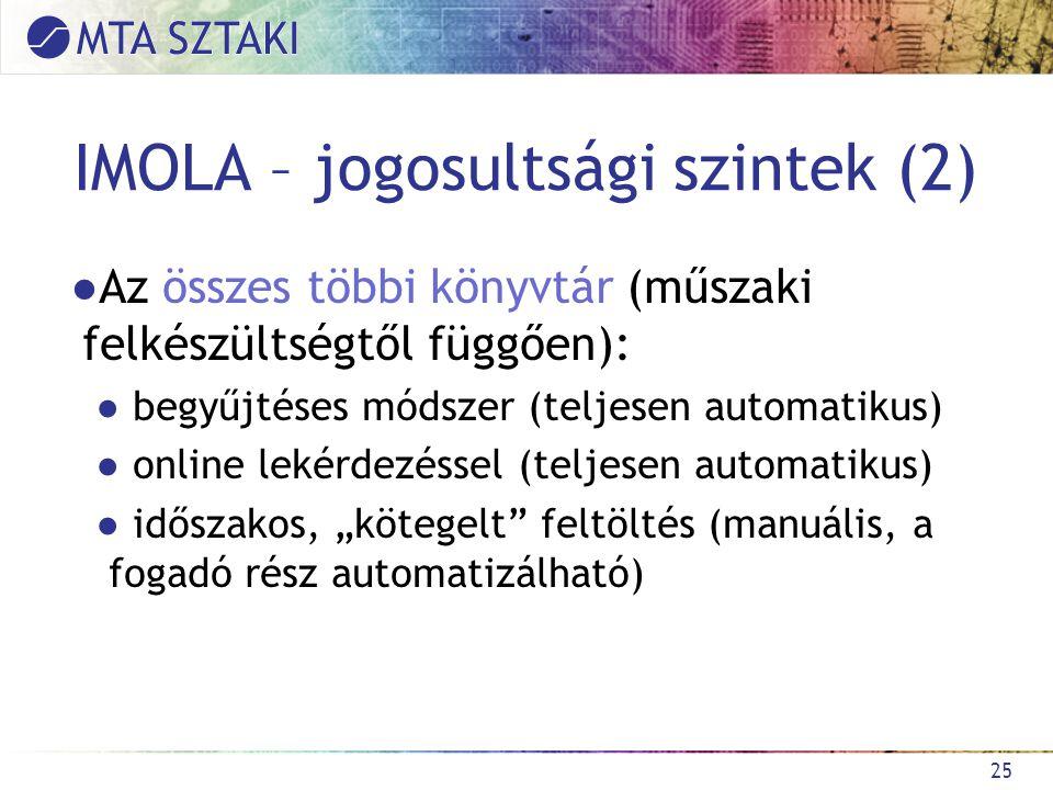 """IMOLA – jogosultsági szintek (2) ●Az összes többi könyvtár (műszaki felkészültségtől függően): ● begyűjtéses módszer (teljesen automatikus) ● online lekérdezéssel (teljesen automatikus) ● időszakos, """"kötegelt feltöltés (manuális, a fogadó rész automatizálható) 25"""
