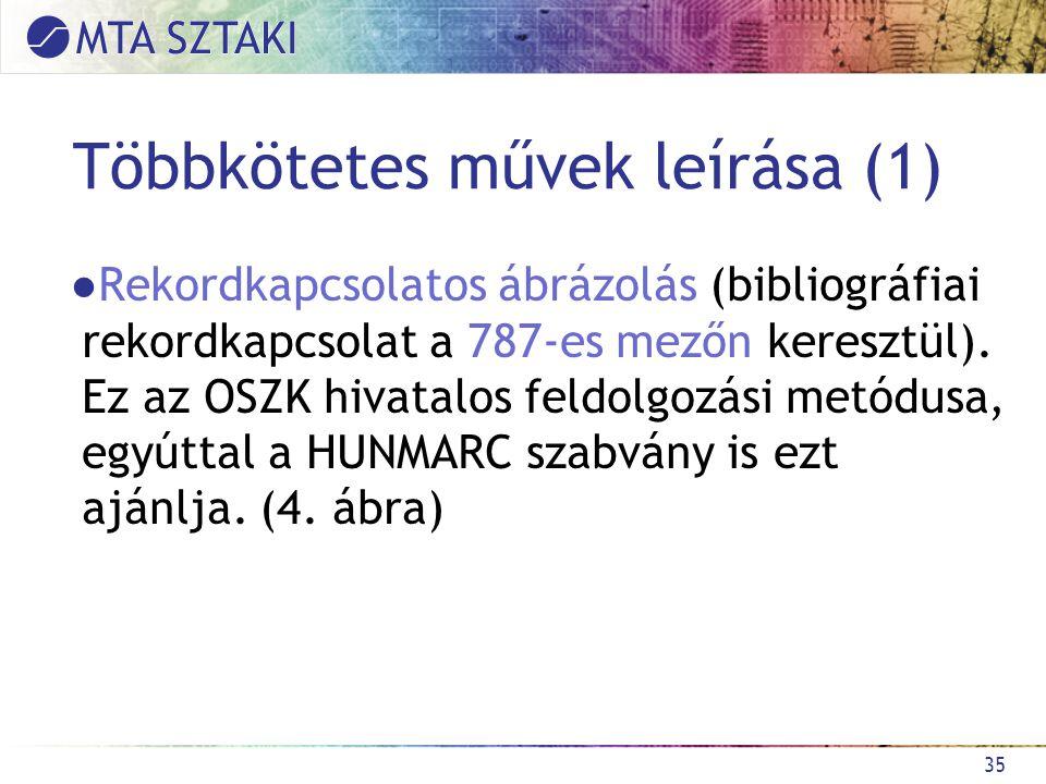 Többkötetes művek leírása (1) ●Rekordkapcsolatos ábrázolás (bibliográfiai rekordkapcsolat a 787-es mezőn keresztül).