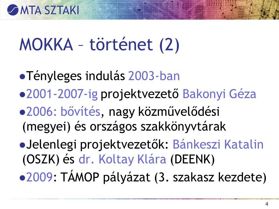 """MOKKA – működési modell ●Adatbázis: valódi, fizikailag egybetöltött rekordok ●Vajda Erik által """"C típusúnak nevezett működési modell (többféle könyvtári rendszer használata miatt nem volt megvalósítható a teljesen közös rendszer)."""