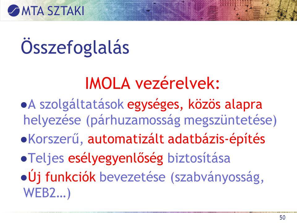 Összefoglalás IMOLA vezérelvek: ●A szolgáltatások egységes, közös alapra helyezése (párhuzamosság megszüntetése) ●Korszerű, automatizált adatbázis-építés ●Teljes esélyegyenlőség biztosítása ●Új funkciók bevezetése (szabványosság, WEB2…) 50