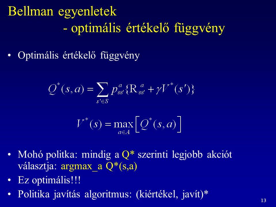 13 Bellman egyenletek - optimális értékelő függvény Optimális értékelő függvény Mohó politka: mindig a Q* szerinti legjobb akciót választja: argmax_a