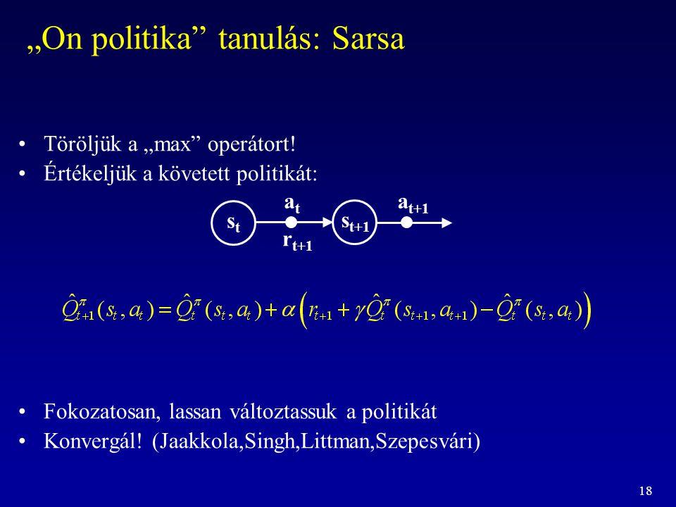 """18 """"On politika"""" tanulás: Sarsa Töröljük a """"max"""" operátort! Értékeljük a követett politikát: Fokozatosan, lassan változtassuk a politikát Konvergál! ("""