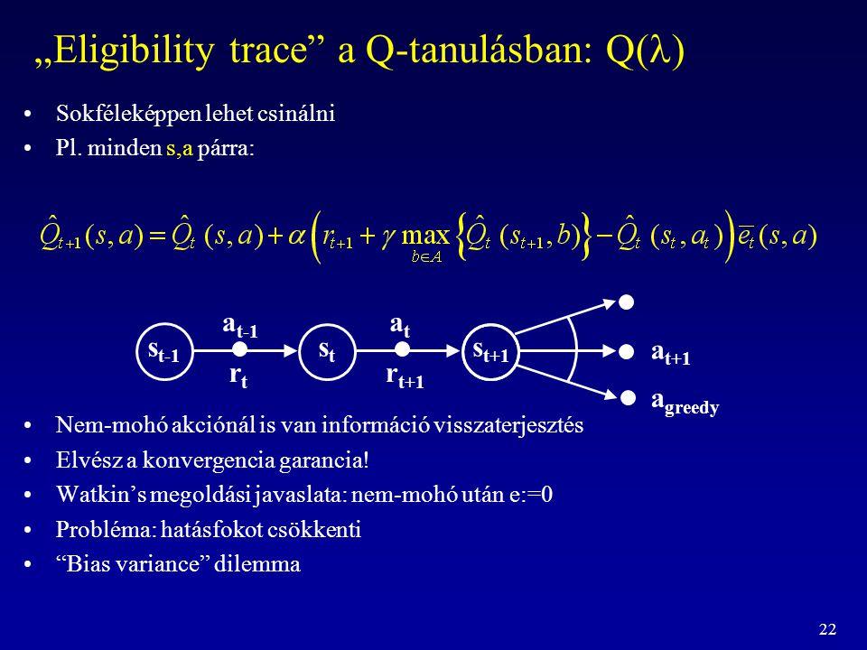 """22 """"Eligibility trace"""" a Q-tanulásban: Q( ) Sokféleképpen lehet csinálni Pl. minden s,a párra: Nem-mohó akciónál is van információ visszaterjesztés El"""