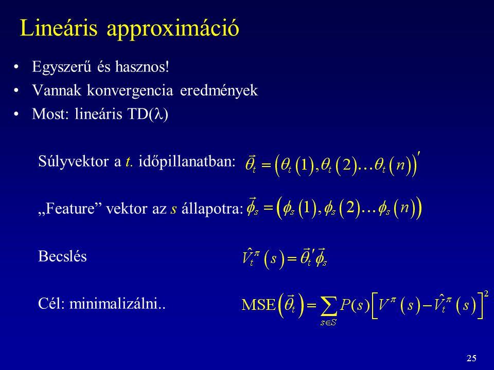 """25 Lineáris approximáció Egyszerű és hasznos! Vannak konvergencia eredmények Most: lineáris TD(  Súlyvektor a t. időpillanatban: """"Feature"""" vektor az"""