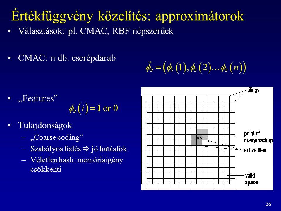 """26 Értékfüggvény közelítés: approximátorok Választások: pl. CMAC, RBF népszerűek CMAC: n db. cserépdarab """"Features"""" Tulajdonságok –""""Coarse coding"""" –Sz"""
