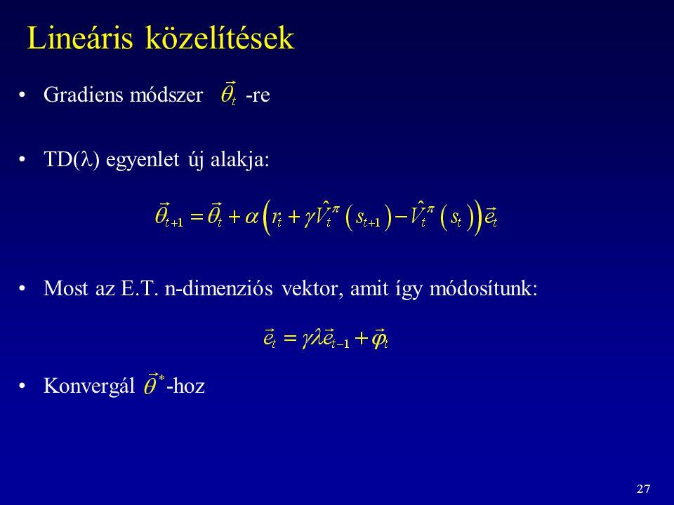 27 Lineáris közelítések Gradiens módszer -re TD  egyenlet új alakja: Most az E.T. n-dimenziós vektor, amit így módosítunk: Konvergál -hoz