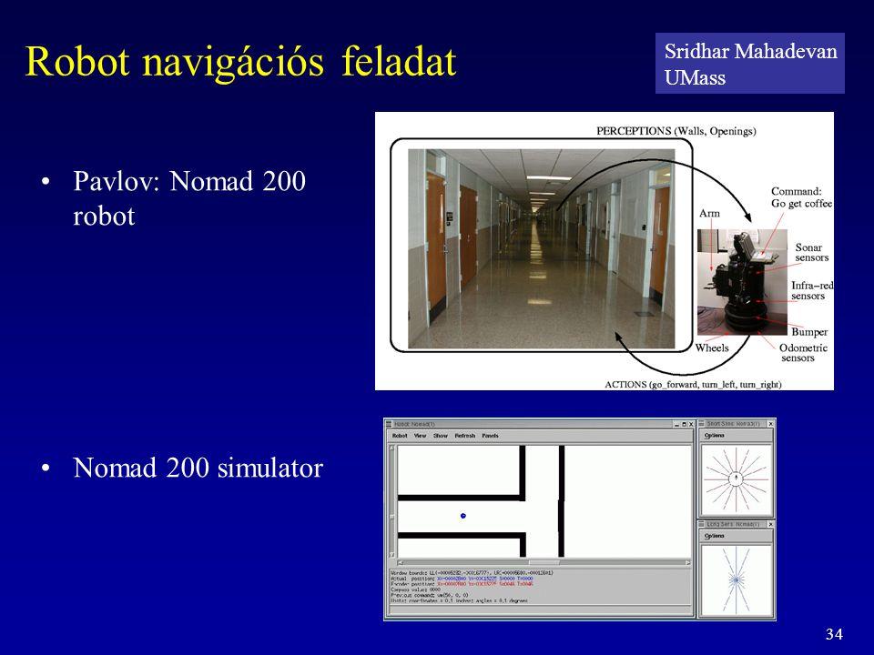 34 Robot navigációs feladat Pavlov: Nomad 200 robot Nomad 200 simulator Sridhar Mahadevan UMass
