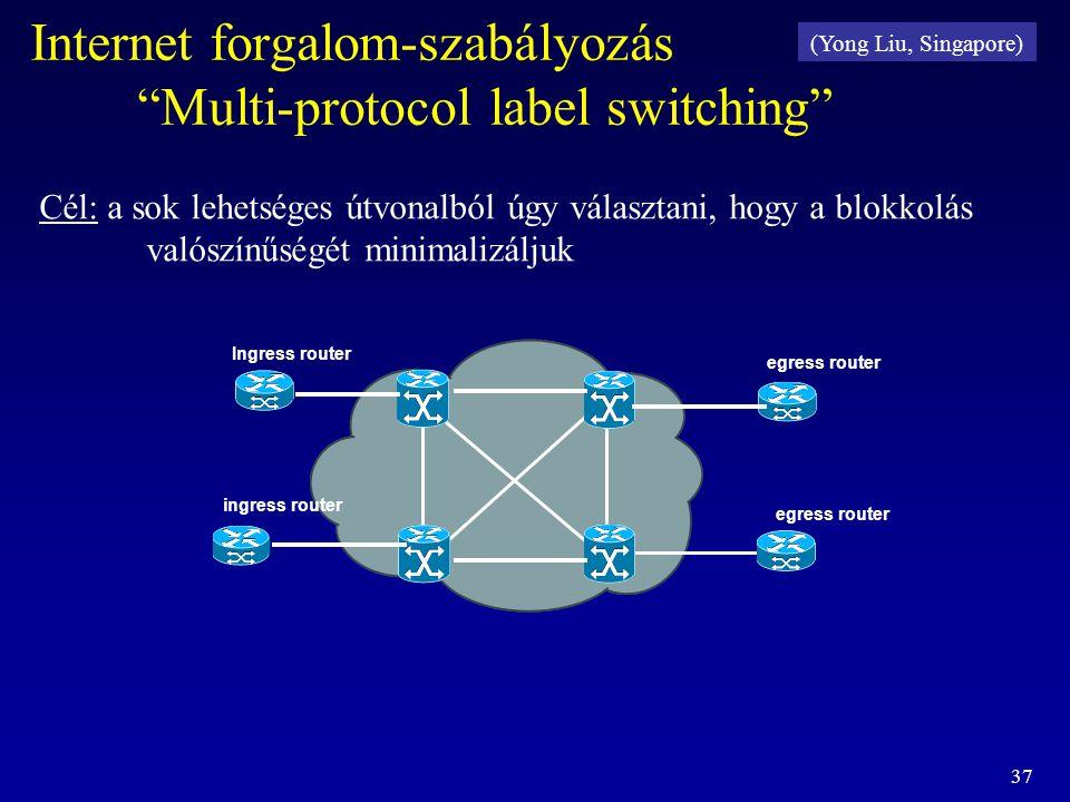 """37 Internet forgalom-szabályozás """"Multi-protocol label switching"""" Ingress router ingress router egress router Cél: a sok lehetséges útvonalból úgy vál"""