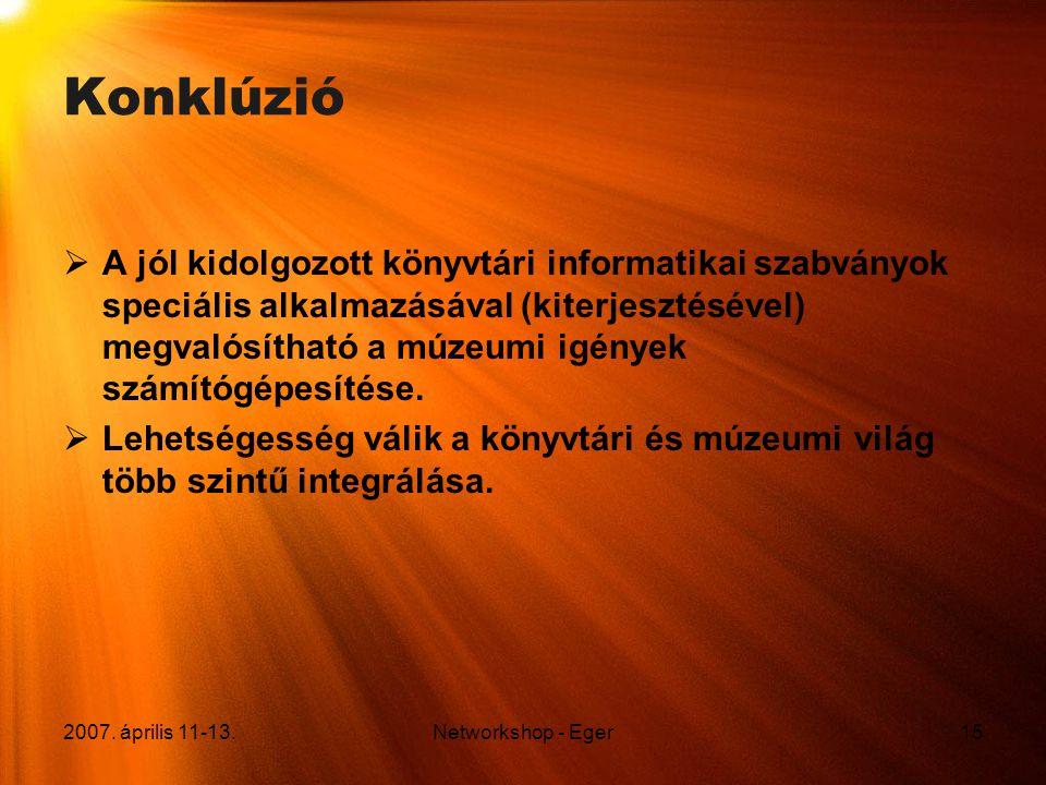 2007. április 11-13.Networkshop - Eger15 Konklúzió  A jól kidolgozott könyvtári informatikai szabványok speciális alkalmazásával (kiterjesztésével) m