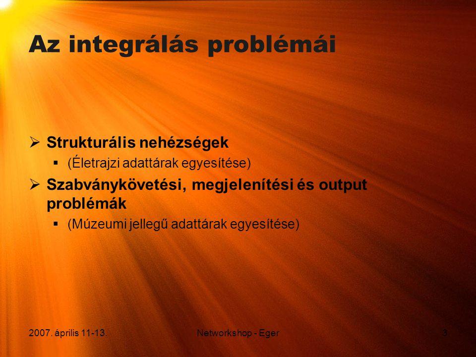 2007. április 11-13.Networkshop - Eger3 Az integrálás problémái  Strukturális nehézségek  (Életrajzi adattárak egyesítése)  Szabványkövetési, megje