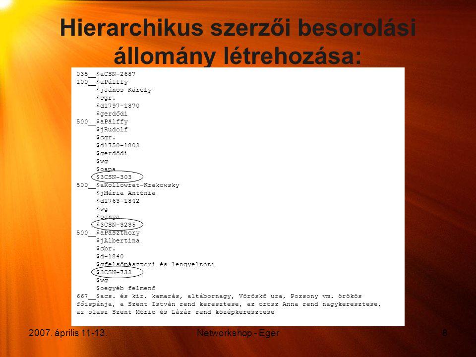 2007. április 11-13.Networkshop - Eger8 Hierarchikus szerzői besorolási állomány létrehozása: 035__$aCSN-2687 100__$aPálffy $jJános Károly $cgr. $d179