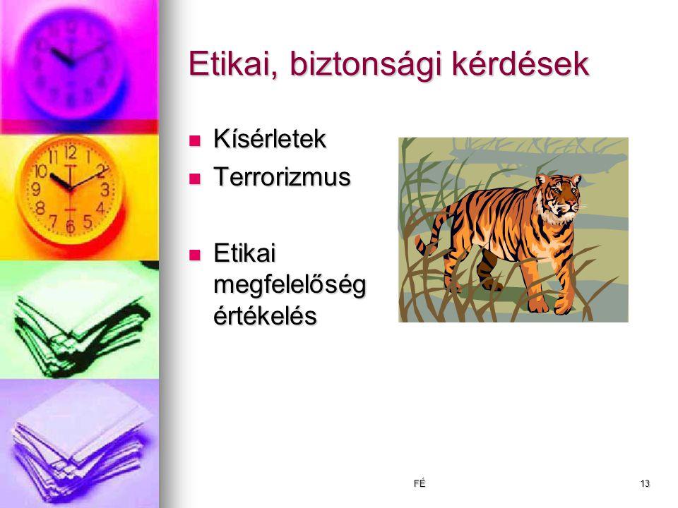 FÉ13 Etikai, biztonsági kérdések Kísérletek Kísérletek Terrorizmus Terrorizmus Etikai megfelelőség értékelés Etikai megfelelőség értékelés