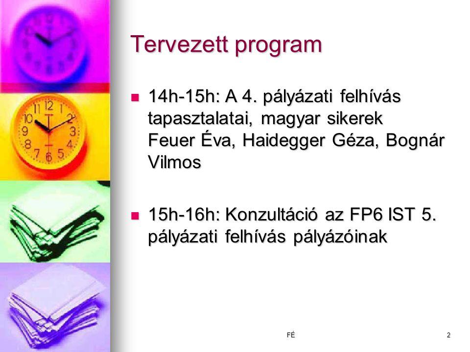 FÉ2 Tervezett program 14h-15h: A 4.