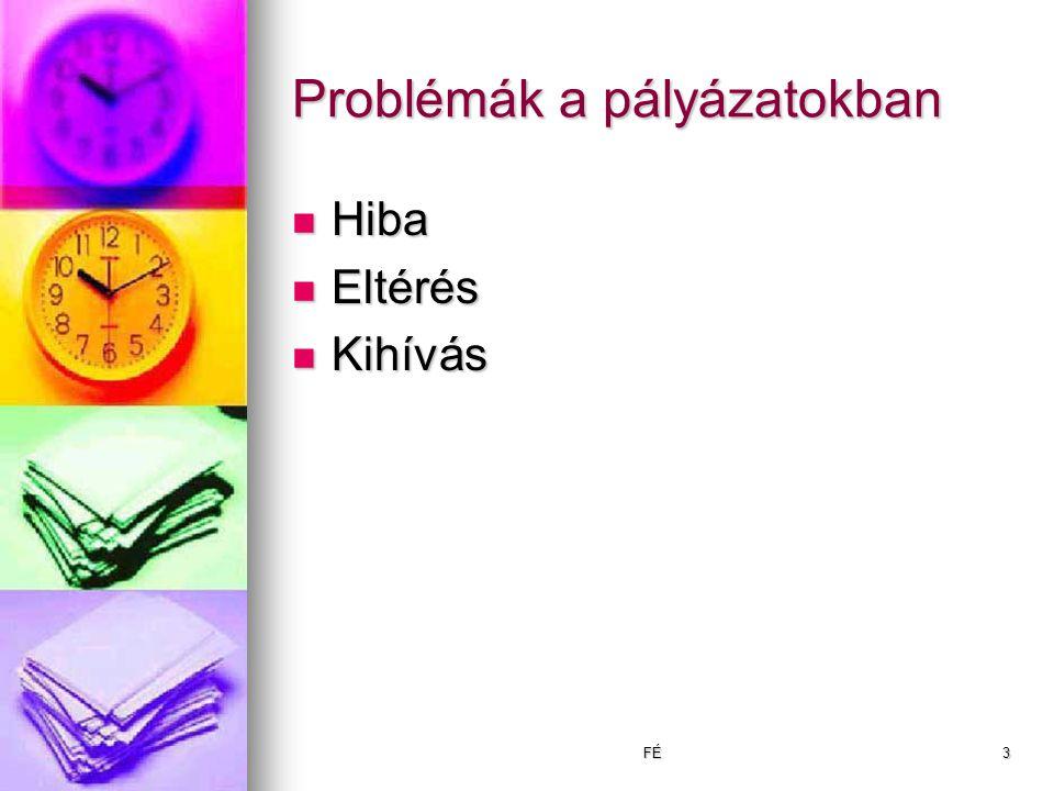 FÉ3 Problémák a pályázatokban Hiba Hiba Eltérés Eltérés Kihívás Kihívás