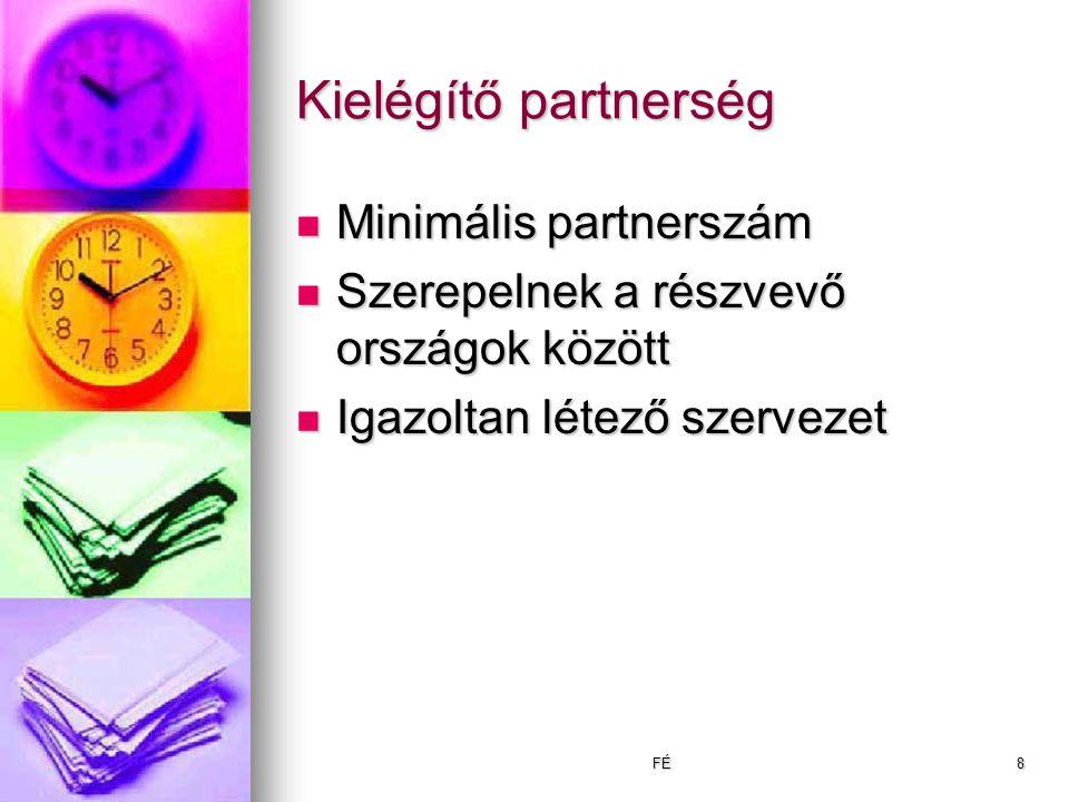 FÉ8 Kielégítő partnerség Minimális partnerszám Minimális partnerszám Szerepelnek a részvevő országok között Szerepelnek a részvevő országok között Igazoltan létező szervezet Igazoltan létező szervezet
